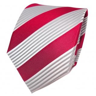 TigerTie Designer Seidenkrawatte rot silber grau gestreift - Krawatte Seide
