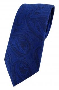 TigerTie Designer Krawatte in royal blau schwarz Paisley gemustert