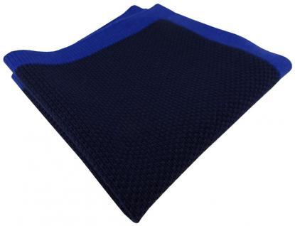 TigerTie Designer Strick Einstecktuch in royal marine blau Uni - 100% Baumwolle