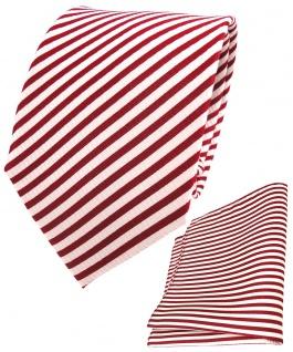 TigerTie Seidenkrawatte + Seideneinstecktuch in rot signalrot weiß gestreift
