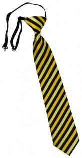 TigerTie Kinderkrawatte gold gelbgold schwarz gestreift - vorgebunden Gummizug