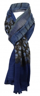 Schal blau dunkelblau dunkelbraun grau lila grün gemustert mit Totenkopf-Motiven