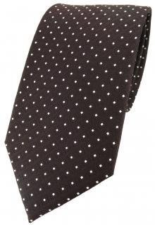 TigerTie Designer Seidenkrawatte braun silber gepunktet - Krawatte 100% Seide