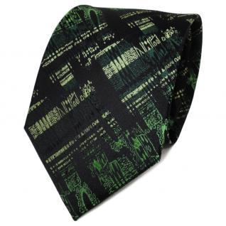 TigerTie Designer Seidenkrawatte grün dunkelgrün schwarz gemustert - Krawatte