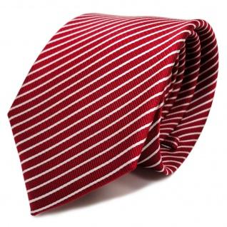 TigerTie Seidenkrawatte in rot signalrot weiss silber gestreift - Krawatte Seide
