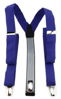 schmaler TigerTie Unisex Hosenträger mit 3 extra starken Clips - in royal uni
