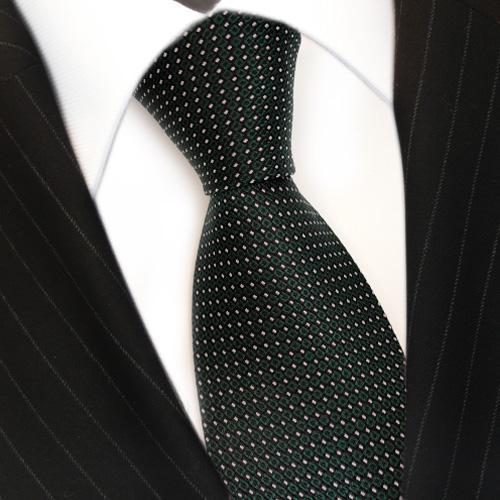 Designer Krawatte Seide grün dunkelgrün silber schwarz gepunktet - Seidenkrawatte