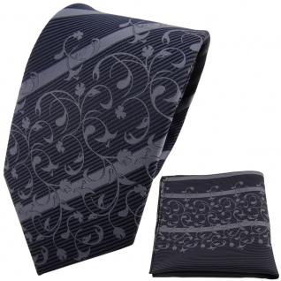 TigerTie Designer Krawatte + Einstecktuch anthrazit grau dunkelgrau gestreift