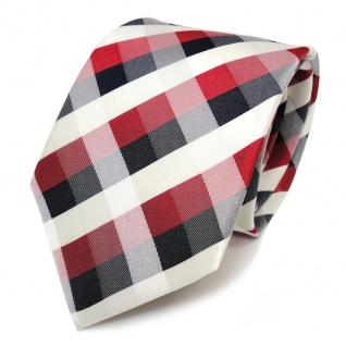 TigerTie Designer Seidenkrawatte rot creme blau graublau kariert - Krawatte