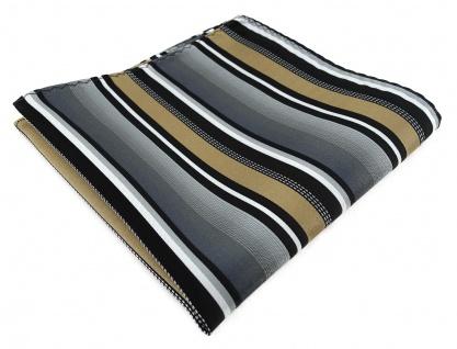 TigerTie Designer Einstecktuch in gold silber grau weiss schwarz gestreift