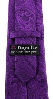 TigerTie Designer Krawatte in lila schwarz Paisley gemustert - Vorschau 3