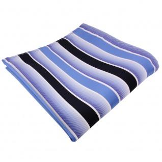 TigerTie Einstecktuch blau hellblau dunkelblau weiß gestreift - 100% Polyester