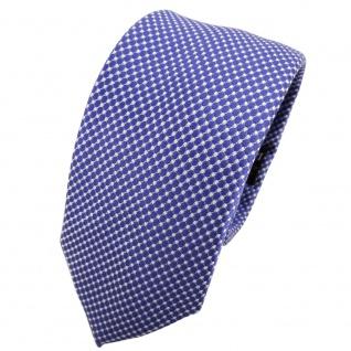 Schmale TigerTie Seidenkrawatte blau blaulila silber gepunktet - Krawatte Seide