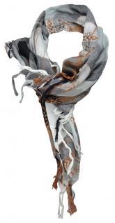 TigerTie Halstuch in anthrazit grau silber schwarz rotbraun kariert mit Fransen