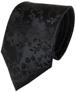 TigerTie Designer Seidenkrawatte schwarz mit Blumenmuster - Krawatte 100% Seide