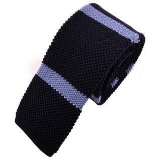 Schmale Strickkrawatte blau dunkelblau hellblau gestreift - Krawatte Polyester