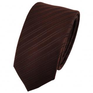 Schmale Designer Seidenkrawatte dunkelbraun gestreift - Krawatte 100% Seide