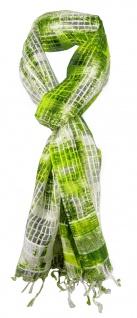 Chiffon Schal grün neongrün beige creme kariert mit Fransen - Gr. 180 x 50 cm