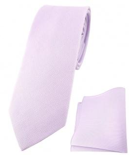 schmale TigerTie Krawatte + Einstecktuch aus 100% Baumwolle in lila einfarbig