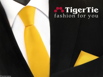 schmale TigerTie Satin Krawatte + Einstecktuch gelb maisgelb Uni -Schlips Binder