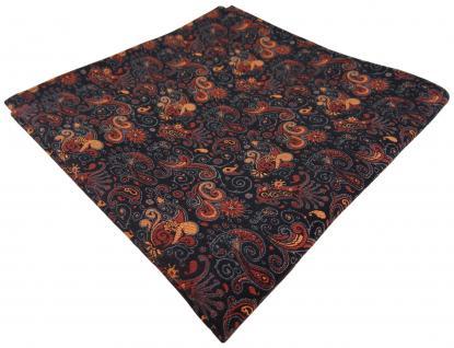TigerTie Einstecktuch orange bronze schwarz paisley gemustert - Tuch 100% Seide