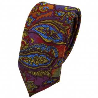 Schmale TigerTie Krawatte lila gold rot orange blau mehrfarbig Paisley gemustert