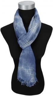 TigerTie Schal in grau jeansblau gemustert mit kleinen Fransen - Gr. 180 x 50 cm