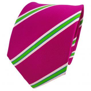 TigerTie Seidenkrawatte magenta fuchsia grün weiß gestreift - Krawatte Seide
