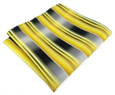TigerTie Designer Einstecktuch in gelb gold silber anthrazit grau gestreift