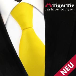 TigerTie Satin Krawatte gelb leuchtgelb knallgelb Uni - Schlips Binder Tie