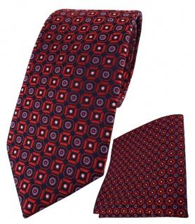 TigerTie Krawatte + Einstecktuch in rot blau silber schwarz gemustert