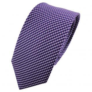 Schmale TigerTie Seidenkrawatte lila flieder silber gepunktet - Krawatte Seide