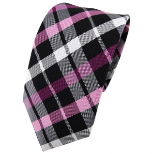 Enrico Sarto Seidenkrawatte rosa lila schwarz silber kariert - Krawatte Seide