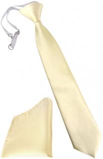 TigerTie Kinderkrawatte + Einstecktuch in beige creme - vorgebunden mit Gummizug
