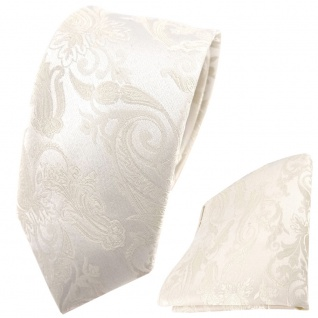schmale Hochzeit Seidenkrawatte + Einstecktuch in creme Paisley Uni
