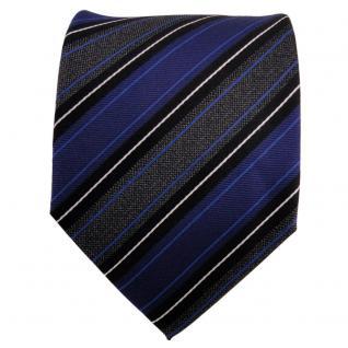 Designer Seidenkrawatte blau anthrazit schwarz silber gestreift - Krawatte Seide - Vorschau 2