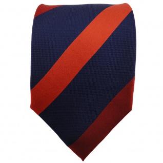 TigerTie Seidenkrawatte orange dunkelorange blau dunkelblau gestreift - Krawatte - Vorschau 2