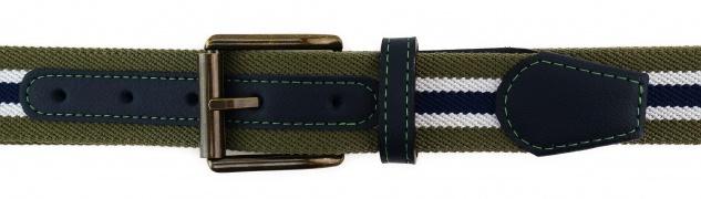 TigerTie - Stretchgürtel oliv grün dunkelblau weiß gestreift - Bundweite 120 cm - Vorschau 3