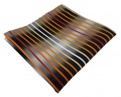 TigerTie Einstecktuch orange lachs rotbraun weiss silbergrau schwarz gestreift - Vorschau 1