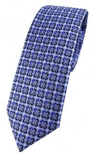 schmale TigerTie Designer Krawatte in blau silber schwarz gemustert