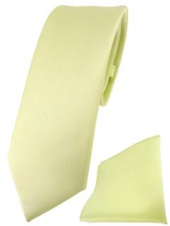 schmale TigerTie Designer Krawatte + Einstecktuch in blassgelb einfarbig uni