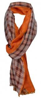 TigerTie Schal in orange blutorange dunkelbraun grau gemustert 180 x 70 cm Gr