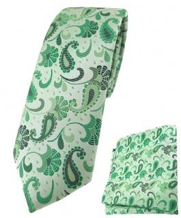 schmale TigerTie Krawatte + Einstecktuch in grün anthrazit Paisley gemustert