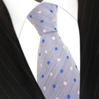 Mexx Designer Krawatte blau hellblau weiß gepunktet - Seide Leinen Binder Tie - Vorschau 3