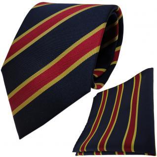 TigerTie Krawatte + Einstecktuch in dunkelblau schwarzblau rot gold gestreift