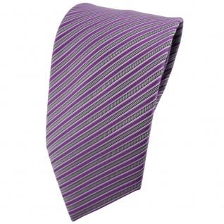 TigerTie Krawatte lila flieder silber grau gestreift - Tie Binder