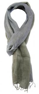 TigerTie Schal in blau grau beige gemustert mit Fransen