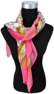Halstuch Chiffon in rosa magenta grau braun gelb grau gemustert - Gr. 90 x 90 cm