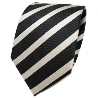TigerTie Designer Seidenkrawatte anthrazit silber grau gestreift- Krawatte Seide