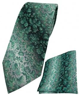 TigerTie Krawatte + Einstecktuch in grün anthrazit grausilber geblümt gemustert